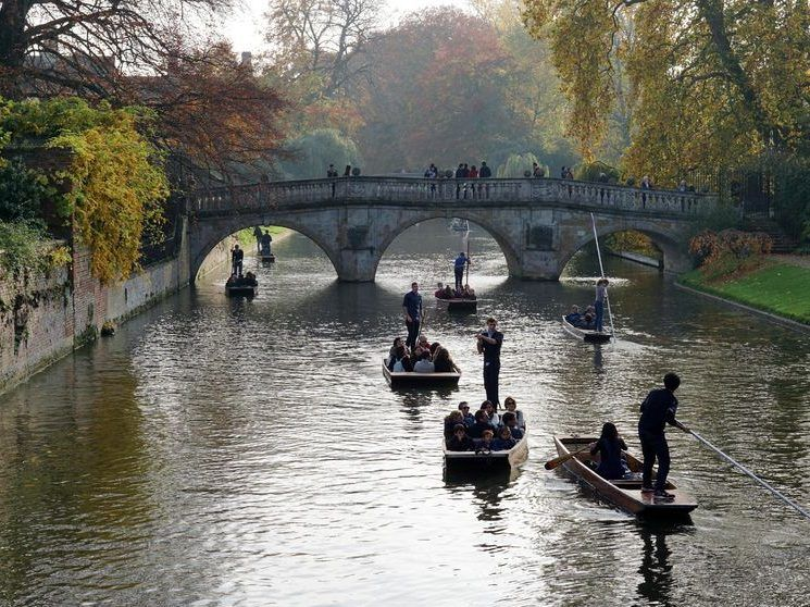51989269 - cambridge, uk - october 31 2015: tourists punt down the river cam near the clare bridge, cambridge's oldest bridge, on a sunny autumn afternoon.