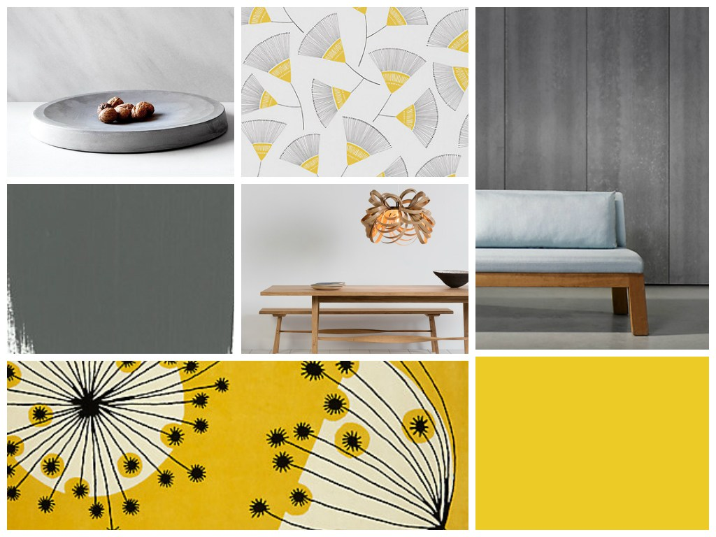Modern colour scheme: yellow and concrete in the dining room