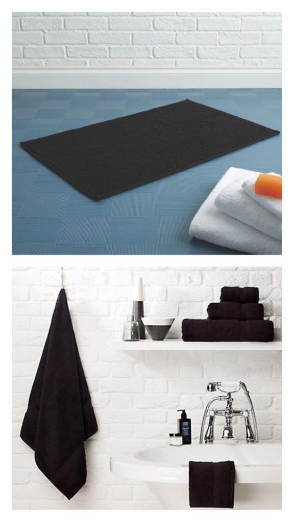 Black Towels and Mat